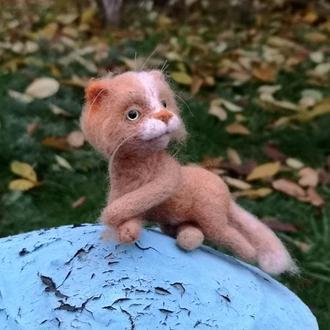 Рыжик кот валяная игрушка миниатюра кот
