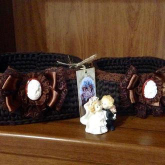 Набор из 2-х корзинок для косметики,духов и ванных принадлежностей