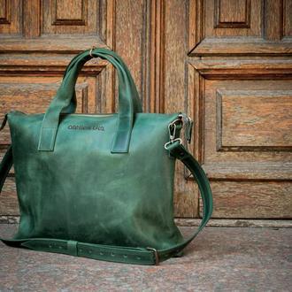 Мужская кожаная деловая сумка. Сумка для бумаг и нетбука