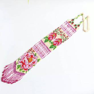 Цветочный гердан из бисера, эксклюзивное украшение, приятный подарок