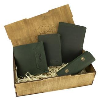 Женский подарочный набор Handycover №44 зеленый (кошелек, 2 обложки, ключница) в коробке