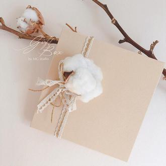 "Gift Box ""Cotton present"" - открытка в коробочке"