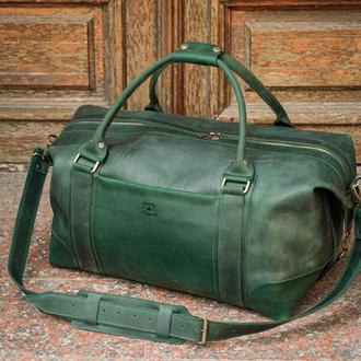 Кожаная мужская дорожная сумка. Сумка кожаная для посещения спорт зала