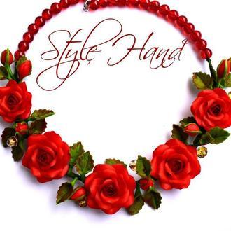 """Колье """" Красные розы"""" из полимерной глины"""