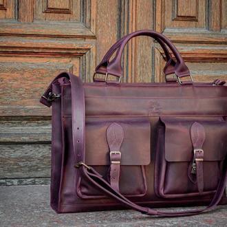 Мужской деловой кожаный портфель. Кожаная сумка для ноутбука