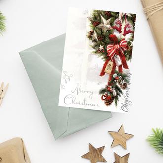 """Новогодняя открытка """"Рождественский венок"""""""