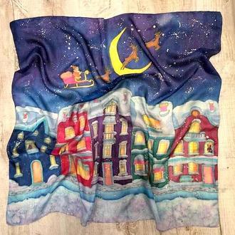 """Шелковый платок """"Рождество"""", натуральный шелк, 90 / 90"""