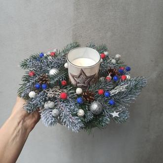 Новогодняя рождественская композиция со свечой, Новогодний рождественский подсвечник