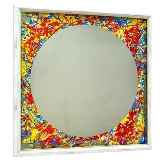 Дизайнерское зеркало картина Red Yellow Circle 7 №6179