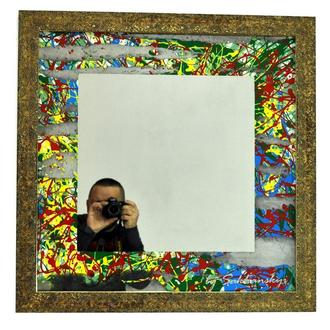 Дизайнерское зеркало картинаYellow Storm №6169