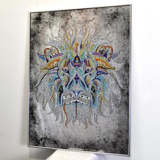 Картина с кристаллами Лев №3315