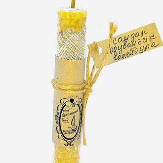 """Восковая свеча из вощины  """"Сандал, одуванчик, календула"""""""