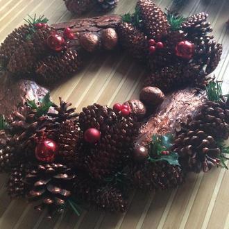 Рождественский венок, подсвечник «Медная феерия»