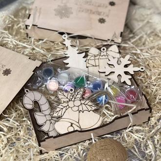 Новогодние подарочные наборы на ёлку, 5 игрушек