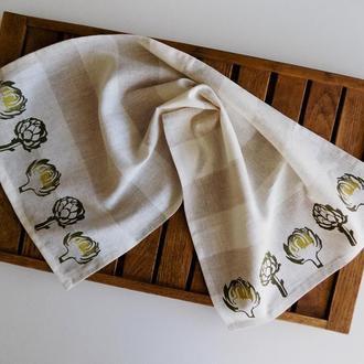 Лляное полотенце с артишоками