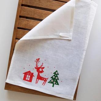 Кухонные полотенца с новогодним рисунком
