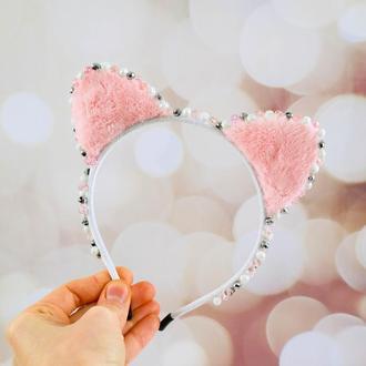 Розовые Ушки кошечки, обруч с ушками кошки, ободок кошечка