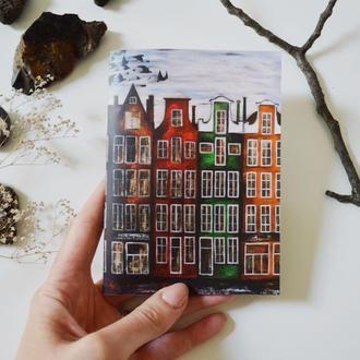Блокнот с черными страницами и белая ручка. Формат А6. Авторская иллюстрация Амстердам