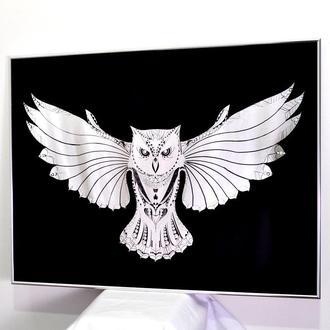 Картина за дзеркалом Black Crysatl Owl №3318