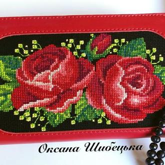 Шкіряний жіночий гаманець,червоний гаманець