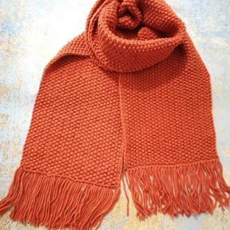 Шарф вязанный терракот, длинный вязанный шарф