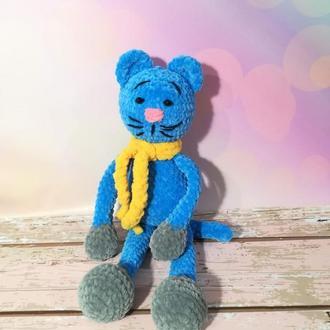 Котик в шарфе вязанный, Котенок плюшевый вязаный высота 38 см