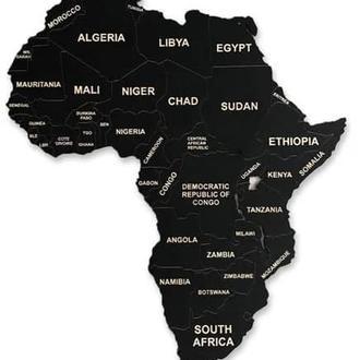 Деревянная Карта Мира На Стену из фанеры - Черная