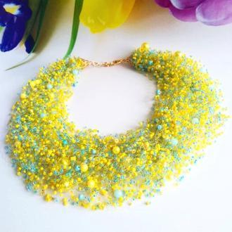 Воздушное колье в украинском стиле Купить необычное ожерелье Лучший подарок Разноцветное колье