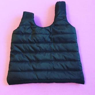 Японская сумка узелок чёрная стёганая