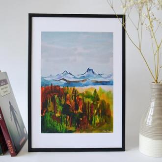 Постер в рамке. Авторская иллюстрация Альпы