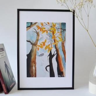 Постер в рамке. Авторская иллюстрация Осень
