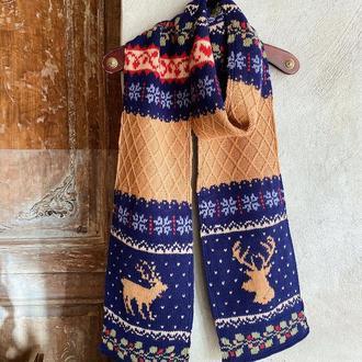 В'язаний шарф з оленями «Різдвяна ніч»