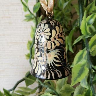 Сувенир - колокольчик деревянный расписной (маленький) Капельки