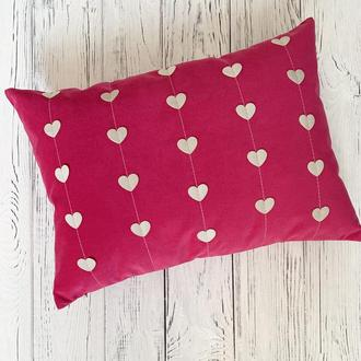 "Подушка ""Сердечки"" розовая"