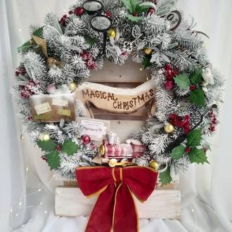 Новорічний вінок у стилі Гаррі Поттера, різдвяний вінок, вінок на новий рік