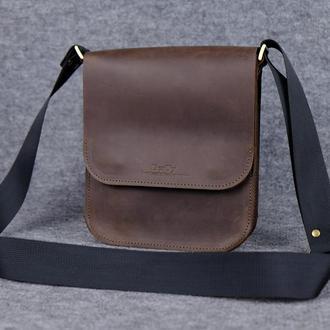 Мужская сумка через плечо|10113| Коричневый