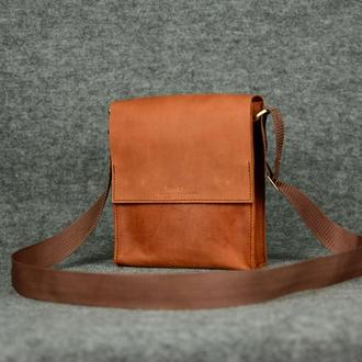 Мужская сумка через плечона два отдела |10135| Коньяк