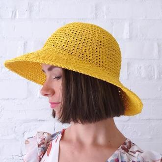 Желтая солнечная шляпа из рафии с широкими полями, соломенная городская или пляжная панама