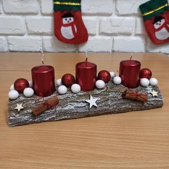 Новорічна різдвяна композиція зі свічками, підсвічник Новорічний різдвяний