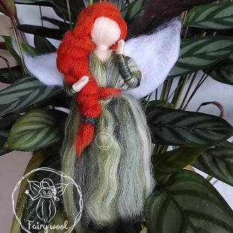 Фея Калатея украшение на елку из шерсти. Сувенир елочная игрушка Ангел валяная кукла