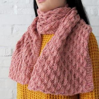Шарф цвета пыльной розы В НАЛИЧИИ, женский вязаный шарф из твидовой шерсти, подарок девушке, маме