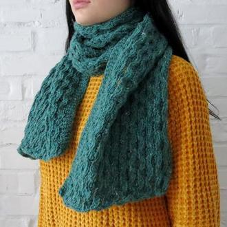 Зеленый шерстяной шарф В НАЛИЧИИ для мужчины или женщины. Подарок мужу, парню, девушке, женщине