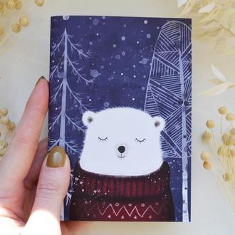 """Блокнот А6. Бумага айвори. Авторская иллюстрация """"Медведь Кристоф""""."""