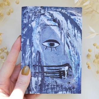 """Блокнот А6 с черными страницами и белая ручка. Авторская иллюстрация """"Портрет девушки №4"""""""