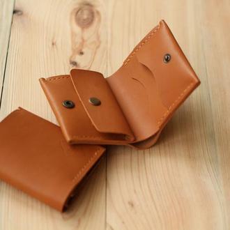 Компактный мини кошелек кожаный на кнопке