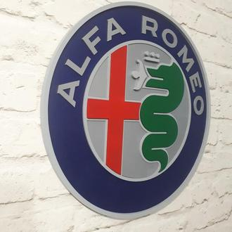 Дерев'яний логотип постер емблема Альфа Ромео (Alfa Romeo)