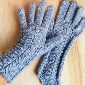 Перчатки с узором теплые шерстяные