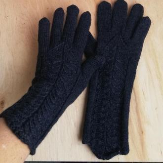 Перчатки черные вязаные с узором