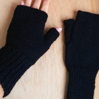 Митенки шерстяные черные. Удобные ,теплые!