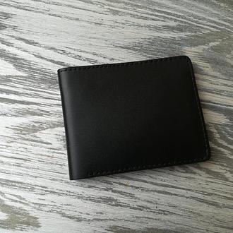 Кожаное мужское портмоне без кнопки черное
